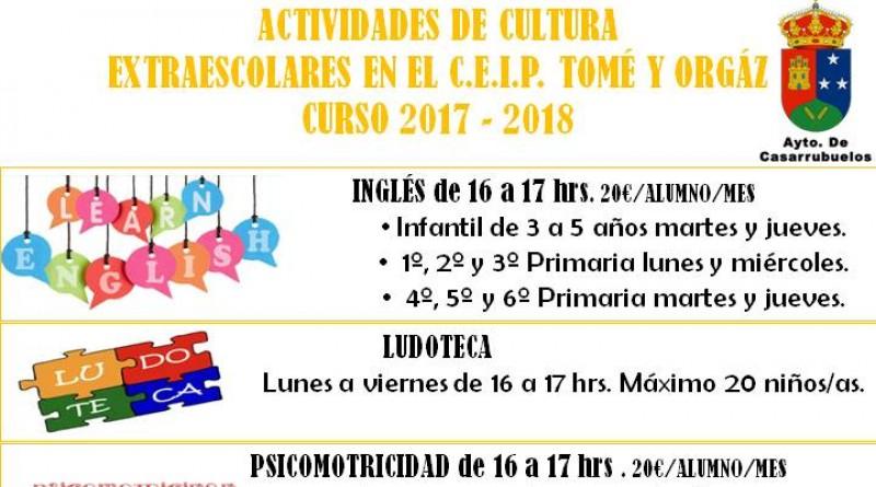 Cartel actividades extraescolares para el curso 2017-2018