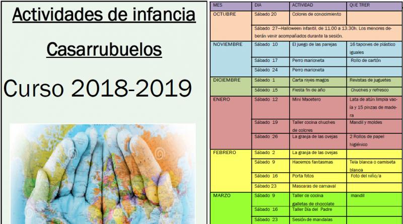 Actividades infancia Casarrubuelos 2018 - 2019