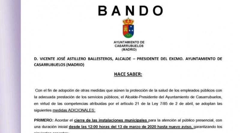 Bando cierre Ayuntamiento de Casarrubuelos, atención al público