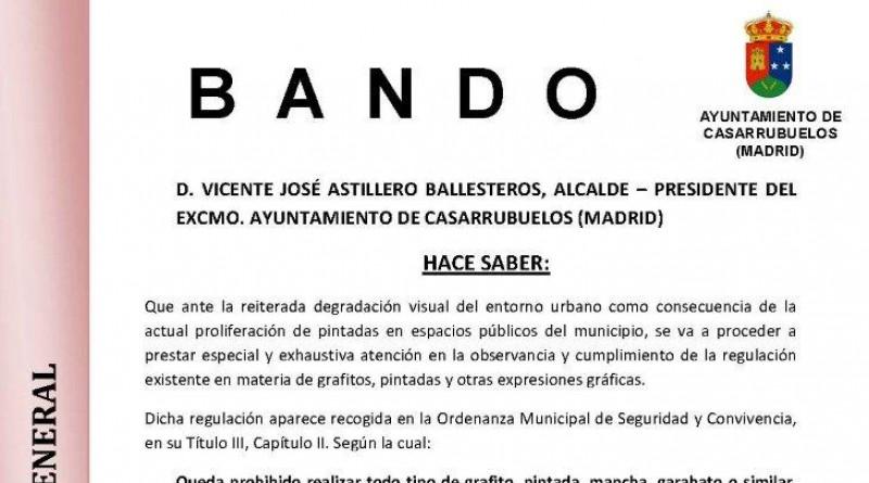 bando municipal del Ayuntamiento de Casarrubuelos sobre pintadas y grafitos