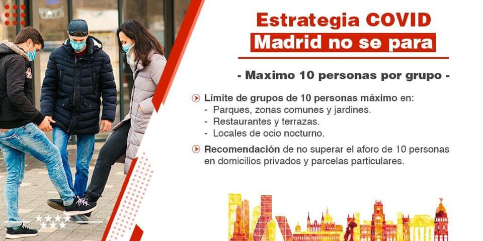 Madrid Covid-19 reunión máximo 10 personas