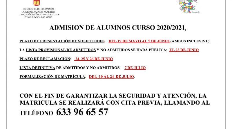 Cartel admision de alumnos Casitas de Niños