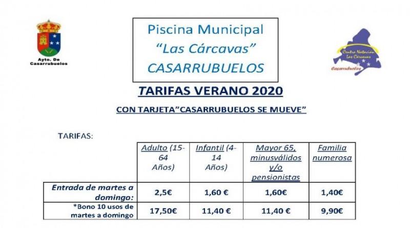 Foto tarifa precios piscina verano 2020