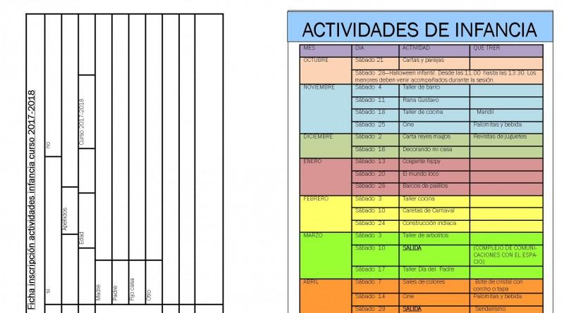 Cartel actividades infancia 2017-2018