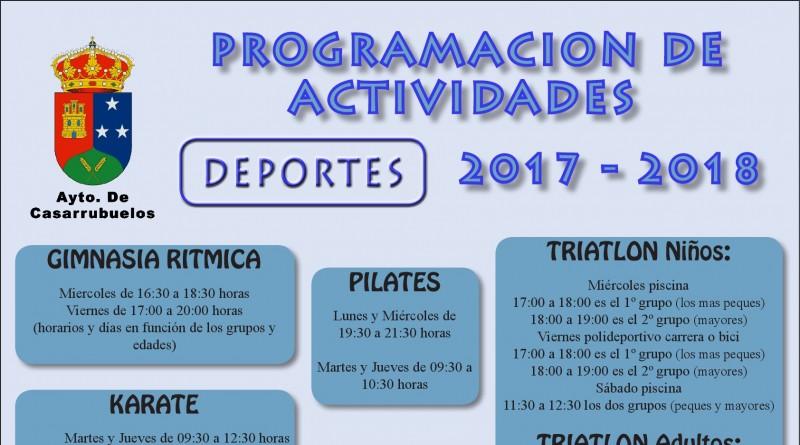 Cartel actividades deportivas temporada 2017-2018