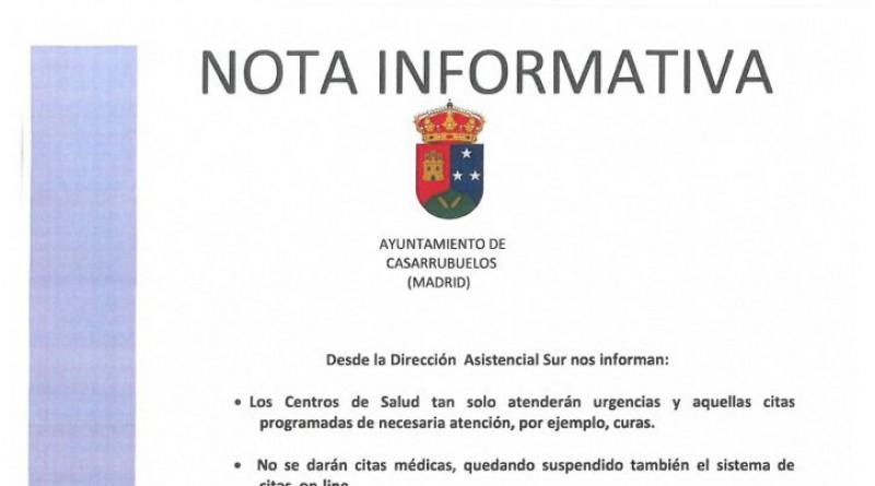 Nota informativa Concejalía de Sanidad